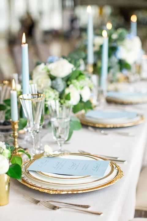 elegant and fresh pale blue and gold tablescape