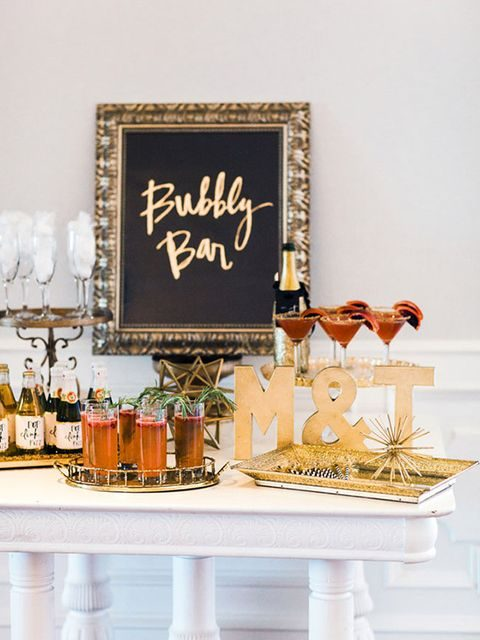 elegant bubbly bar with gold touches