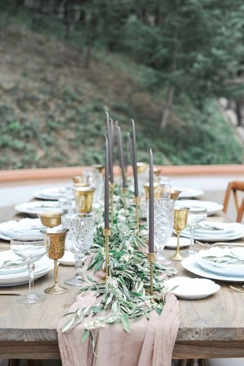 elegant dusty pink, grey and gold tablescape