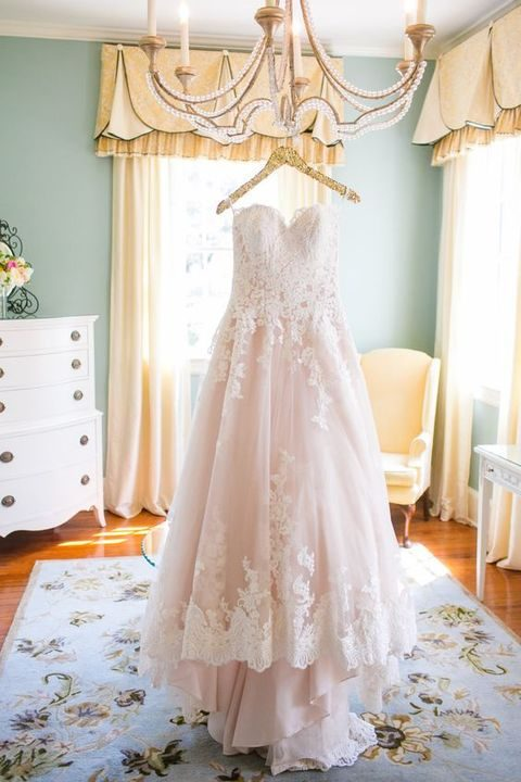 elegant strapless blush dress with white lace