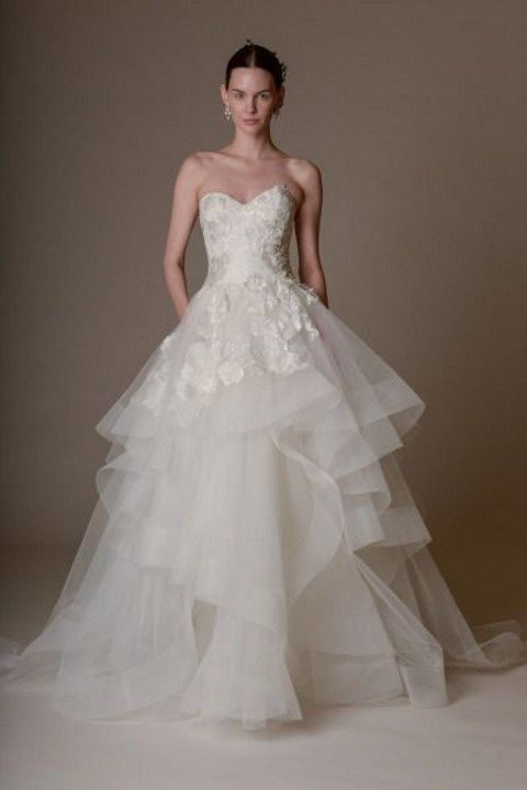 Fl Strapless Bodice And A Layered Tulle Skirt Halter Neckline Wedding Dress