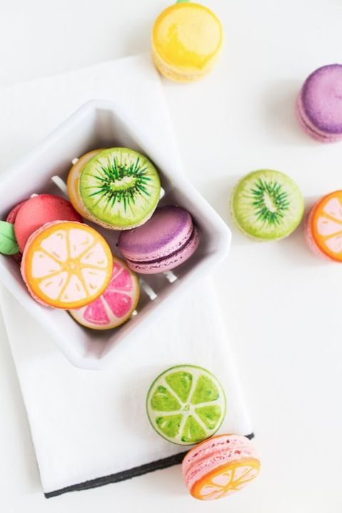 fruit painted macarons for a summer wedding