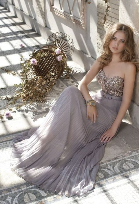 gold metallic bodice and a grey chiffon pleated maxi