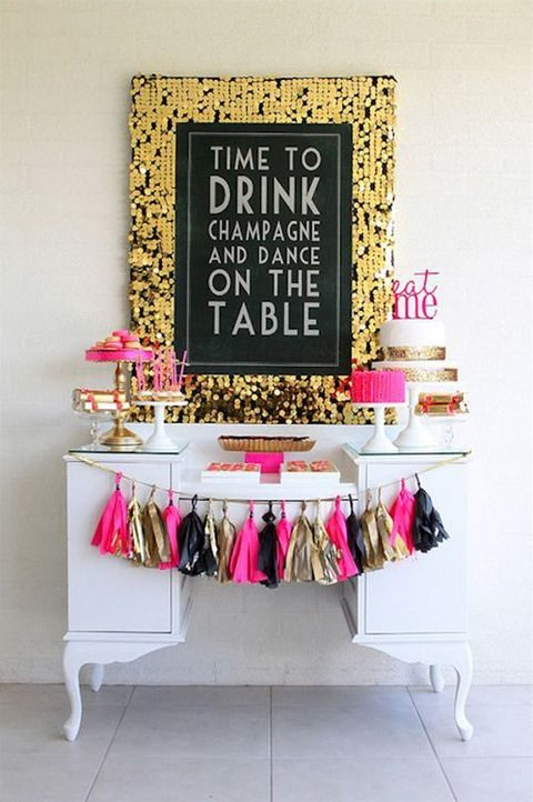 gold, pink and black dessert bar