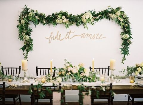 green and ivory garland for decorating walls or a backdrop