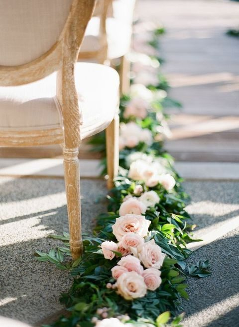 greenery and blush roses garland for lining the aisle