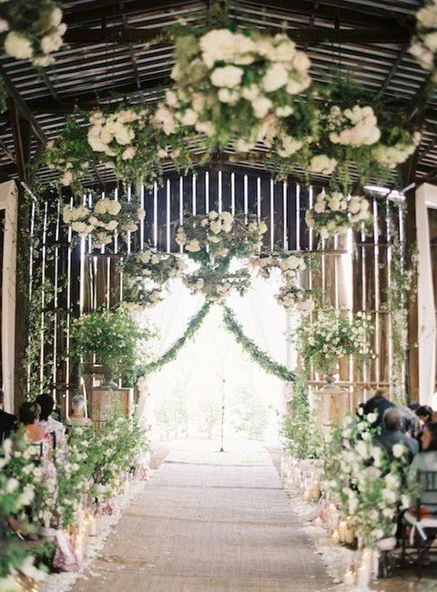 greenery and white garlands all over the venue