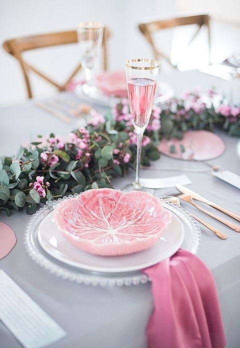 grey and bold pink table setting