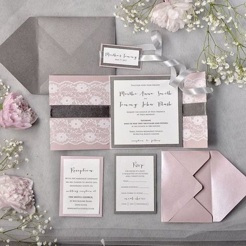 Grey And Pink Lace Stationery