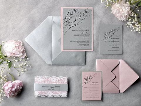 grey and pink stationery looks very romantic