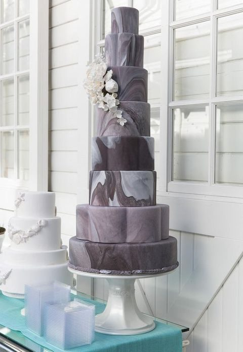 grey, brown and white marble-printed wedding cake