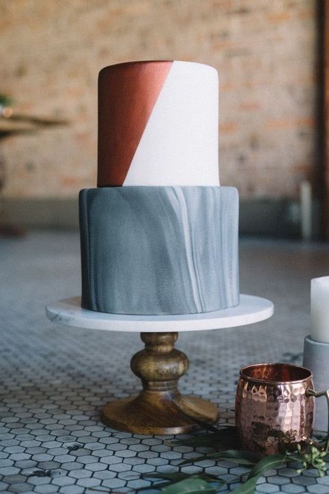 grey marble, copper and white cake