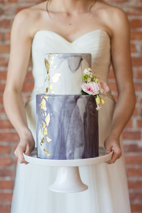 grey marble wedding cake with gold leaf and flowers