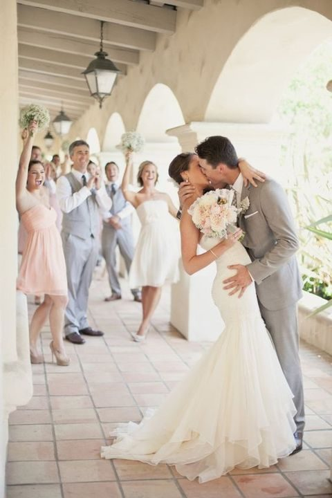 groomsmen in grey and bridesmaids in blush and ivory