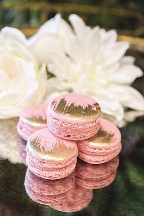 guava-flavored macarons with brushed gold details