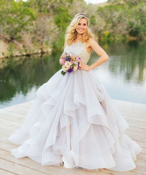 38 stunning layered tulle wedding dresses happywedd halter neckline and layered tulle wedding dress junglespirit Images