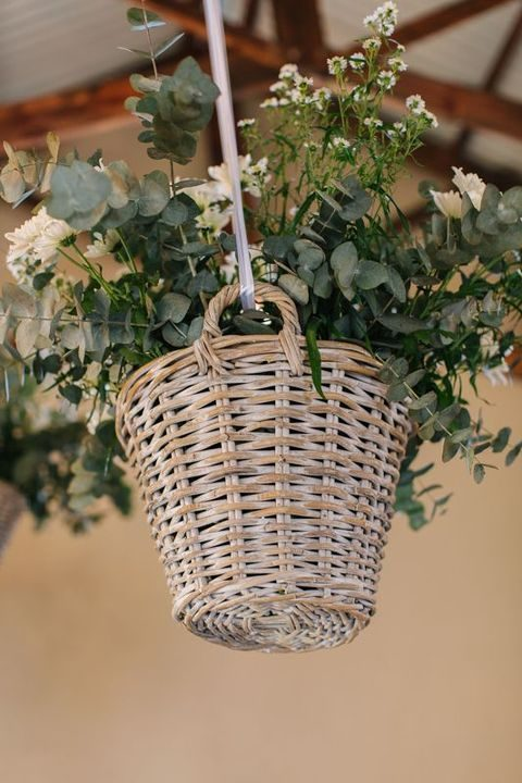 hanging basket decorations full of flowers can be used anywhere