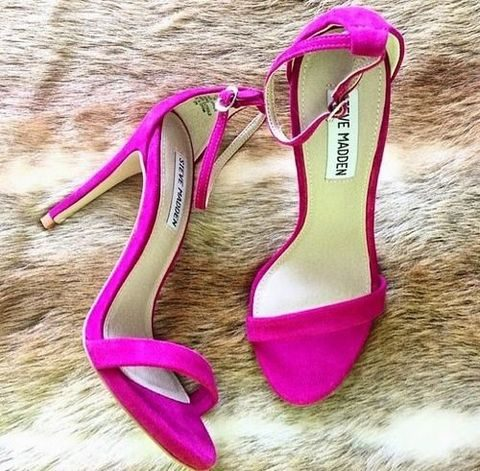 hot pink suede heels will perfectly highlight your look