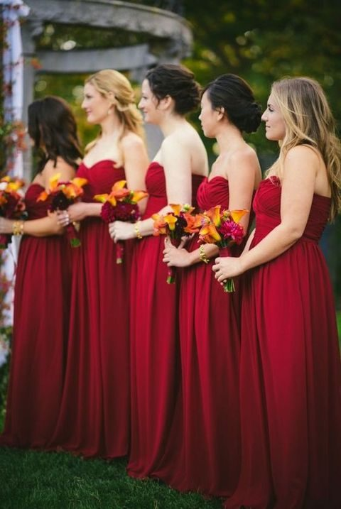hot red maxi gowns for a fall wedding