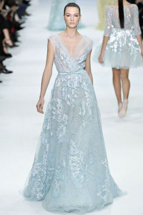 icy blue lace wedding dress with a V-neckline