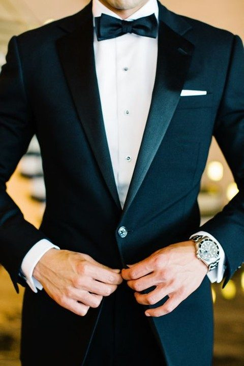 ideal black tuxedo for the groom