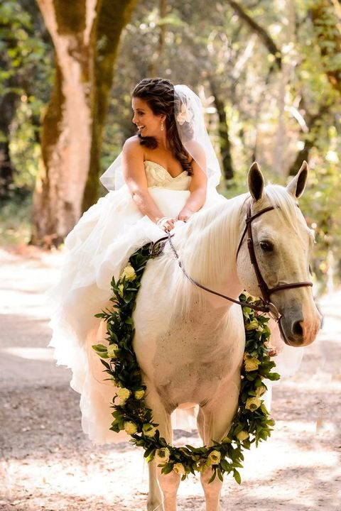 if you have horses at the wedding, accessorize them with garlands or crowns