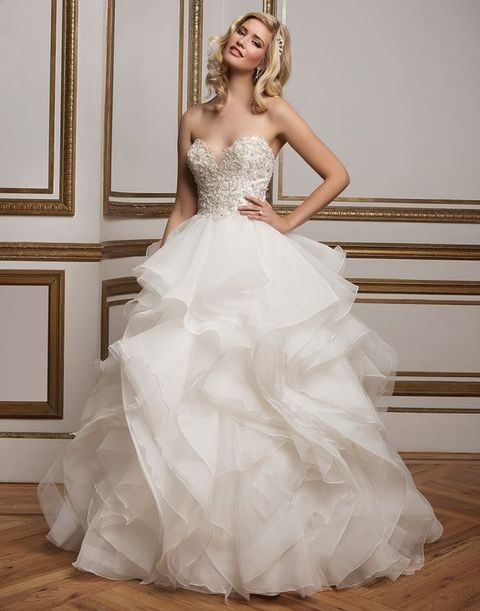 Intricately Beaded Metallic Lace Sweetheart Bodice Organza Ruffle Skirt And Horsehair Tulle Layers