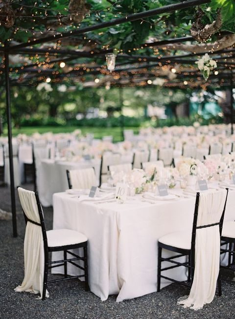 ivory and blush reception decor for a garden wedding