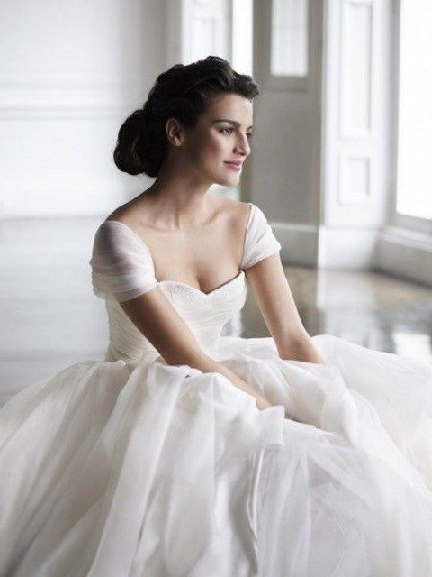 ivory wedding gown with layers of tulle