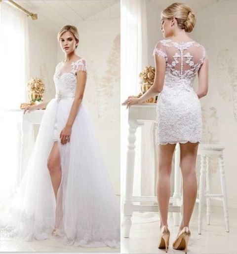 21 smart convertible wedding dresses happywedd lace and tulle wedding dress with a short and long version junglespirit Image collections