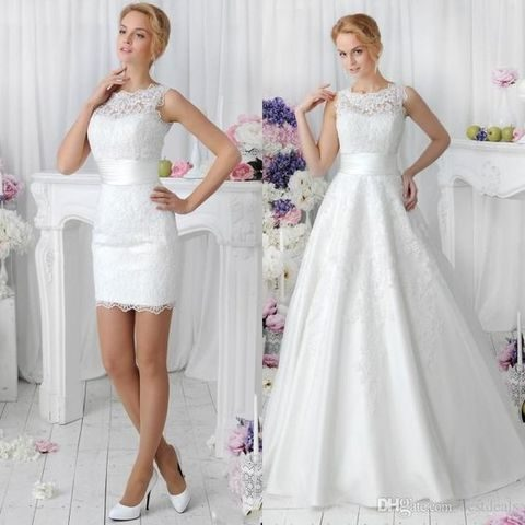 lace bateau wedding dress with a detachable skirt can be transformed into a short one
