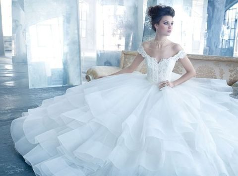 lace off the shoulder bodice and a tulle skirt