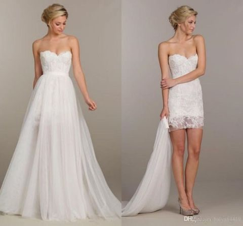 lace sweetheart wedding dress with a detachable skirt