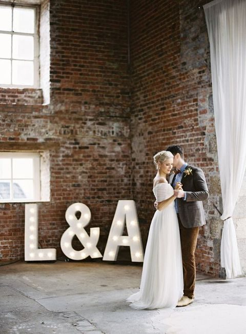 large initials marquees to decorate the venue