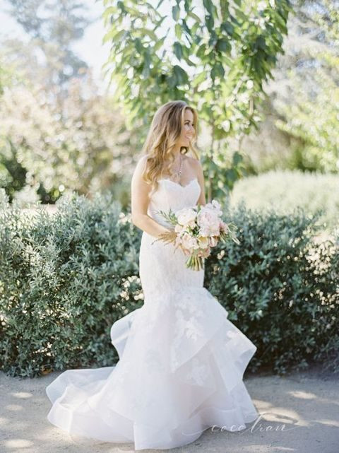 layered tulle fit and flare wedding dress