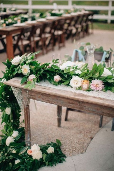 leaves and blush flowers for decorating tables