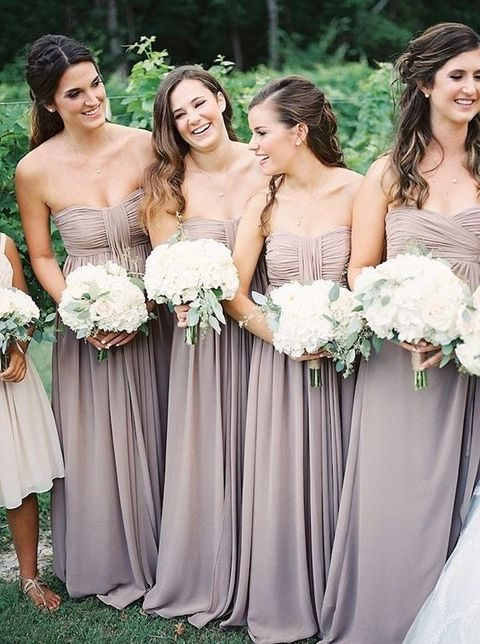 lovely light mauve chiffon bridesmaids' gowns