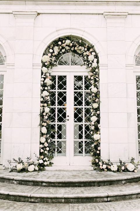 lush white flowers garland to cover doors