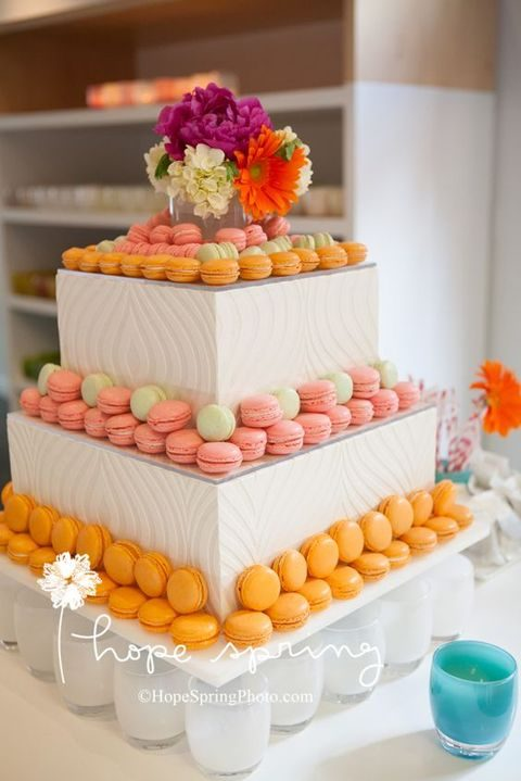 macarons displayed as a wedding cake