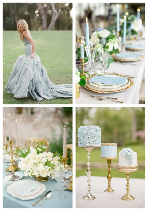 Delicate Dusty Blue And Gold Wedding Ideas | HappyWedd.com