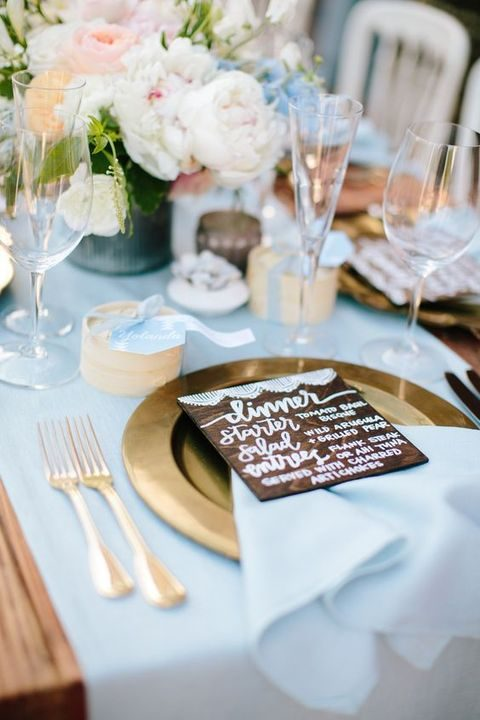 Delicate dusty blue and gold wedding ideas for Baby blue wedding decoration ideas