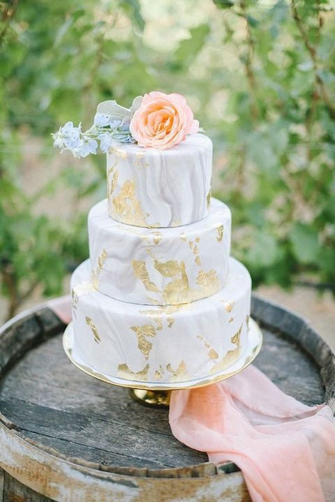 marble gold leaf wedding cake