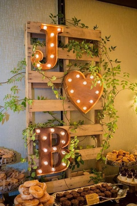 marquee initials and a heart for dessert table decor