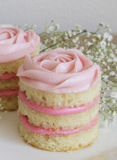 mini coconut raspberry naked rosette cakes
