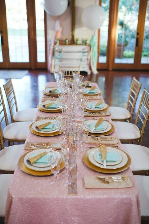 mint, gold and pink table setting for a sparkling bridal shower