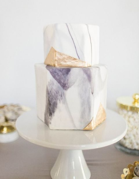 modern geometric marble and gold wedding cake