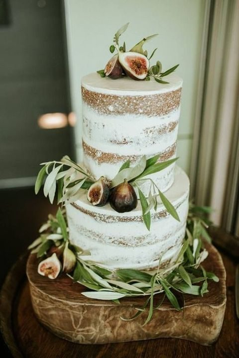 naked fig and olive leaf wedding cake