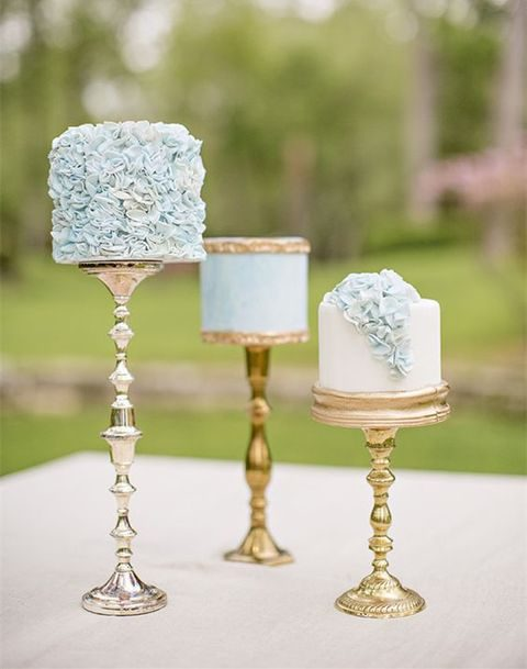 pale blue and gold mini wedding cakes