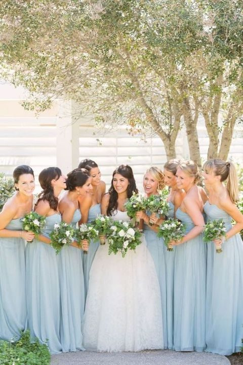 pastel blue strapless gowns