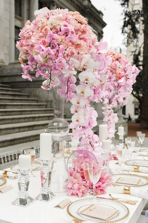 pink and blush wedding tablescape with lush florals